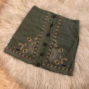 Francescas blue rain mini skirt with embroidery